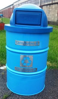 Recycle Bin 55-Gallon Drum with many Plastic Top options