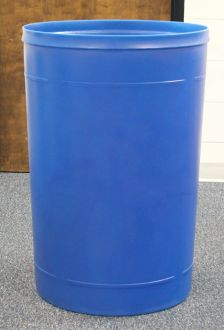 55 Gallon Round Plastic Trash Receptacle with many top options