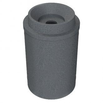 "55 Gallon Round Plastic Trash Receptacle with Bug Barrier 10"" Flip Door & Liner"