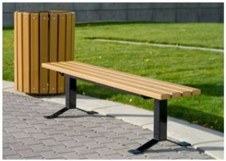 """OCC Outdoors Traditional Bollard Style Recycled Plastic Bench with 2"""" x 4"""" Planks"""