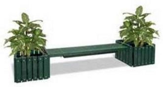 Planters bench 6' Recycled Plastic Bench Without Back with 2 Planters.