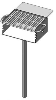 Rotating Flip-Back Grill with Utility Shelf and Adjustable Grate