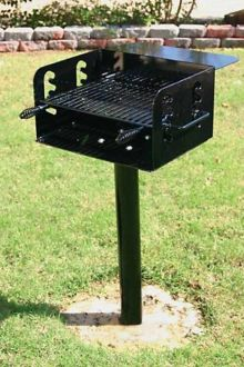 Pedestal Mounted Rotating Grill with Adjustable Grate and 280 Sq. Inches of Grilling Area and Utility Shelf