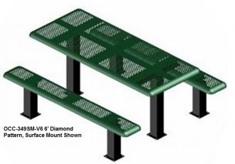 Picnic Table with Pedestal table and seats steel with Thermoplastic coating