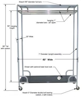"""Garment Rack Double Bor Single Sided Garment Rack, Chrome Plated Steel, 60"""" Wide with Casters"""