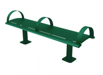 6 Foot Richmond 82 Series Horizontal Slat Backless Steel Bench with Arm Rests