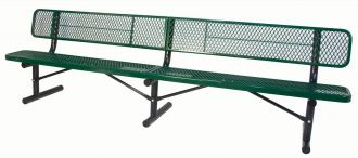 10 Foot Deluxe Heavy Duty Thermoplastic Coated Park Bench with 15 inch Wide Seat