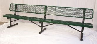 """10 Foot Heavy Duty Park Bench With Back Thermoplastic Coated and 12"""" Seat"""
