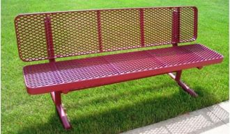 """8 Foot Heavy Duty Deluxe Park Bench With Back thermoplastic coated and  15"""" Seat Plank"""