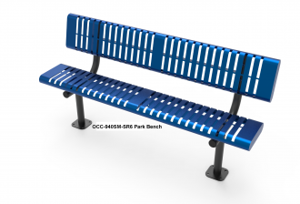 Steel Slat Pattern Park Bench with Back