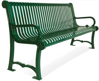 4' Charleston Park Bench With Back and Arm Rest