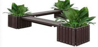 Planters bench 6' Recycled Plastic Bench Without Back with 2 Benches and 3 Planters