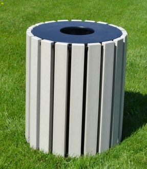 Round 33 Gallon Recycled Plastic Trash Receptacle