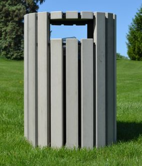 Round 33 Gallon Recycled Plastic Trash Receptacle with Rain Cap
