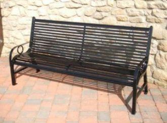 6 Foot Broadway Park Bench with Horizontal Slats