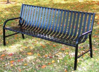 5 Foot Steel Street Park Bench with Vertical Slats