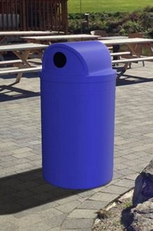 55 Gallon Round Plastic Receptacle with 2-Way Recycle Lid & Liner