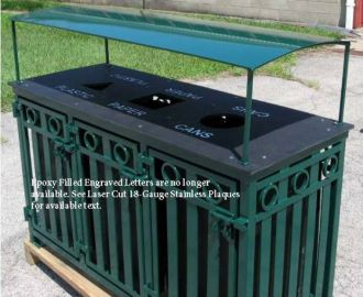 3 Bay Outdoor Recycle Bin with recycled Plastic Top