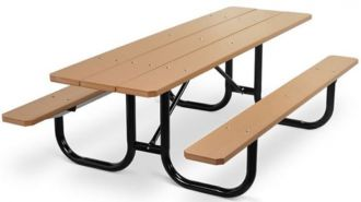 Extra Heavy Duty Picnic Table with Recycled Plastic Top & Seats Walk Through Design