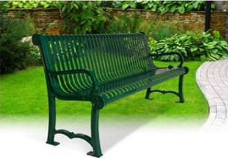 6' Charleston Park Bench With Back and Arm Rest
