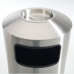 39-Gallon Stainless Steel Trash Receptacle with Ash Tray