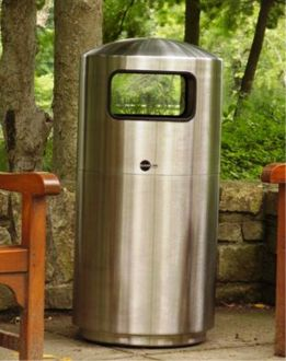 39-Gallon Stainless Steel Trash Receptacle, Side Load