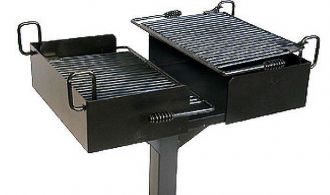 Bi-Level In Ground Pedestal Mount Commercial Park Grill with two infinitely adjustable flip back grates.