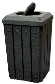 32-Gallon Square Molded Slat Trash Receptacle With Bug Barrier