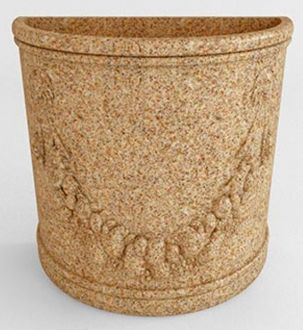 """Half Round Planters Granite Colors With Garland 23"""""""