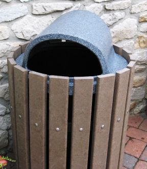 32 or 36-Gallon Recycled Plastic Trash Receptacle with Recessed Top