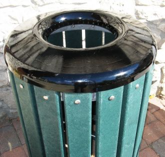 Trash Receptacle Recycled Plastic Trash Receptacle with Steel Top