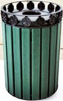 Charleston Recycled Plastic 32 Gallon Trash Receptacle with Plastic Liner