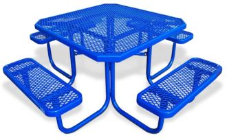 """46"""" Octagon Picnic Table  Walk Through Design with Thermoplastic Coated Steel"""