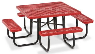 """46"""" Square Picnic Table  Walk Through Design with Thermoplastic Coated Steel"""