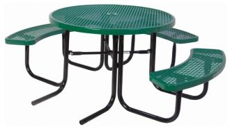 """46"""" Round Picnic Table  ADA Accessible  Design with Thermoplastic Coated Steel Top and Seats"""