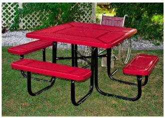 """46"""" x 55""""  ADA Accessible Picnic Table  with Thermoplastic Coated Steel Top and Seats"""