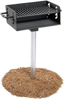 Pedestal Mounted Rotating Grill with Adjustable Grate and 280 Sq. Inches of Grilling Area