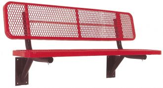 """6' Thermoplastic Coated Deluxe Heavy Duty Park Bench With back and 15"""" Seat"""