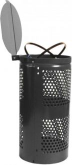 10-Gallon Perforated Trash Receptacle, Hinged Lid
