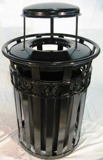 36-Gallon Ornamental Trash Receptacle with Rain Guard