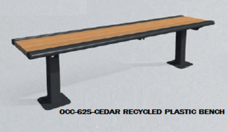 6 Foot Richmond 62 Series Steel Frame Bench Without Back With Recycled Plastic Slats