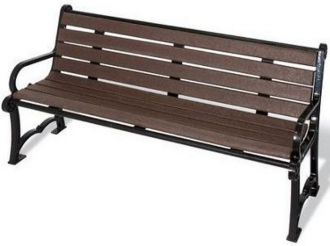 Charleston Recycled Plastic Park Bench With Black Cast Aluminum Legs, Slats Available In 4 Colors