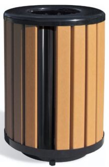 Richmond 60 Series Recycled Plastic 32 Gallon Trash Receptacle with Plastic Liner
