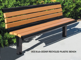 6 Foot Richmond 61 Series Steel Frame Bench with Recycled Plastic Slats and Back