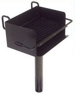 ADA Compliant (Wheelchair Accessable) Inground Pedestal  Mounted Rotating Grill with Infinitely Adjustable Grate and 300 Sq. Inches of Grilling Area