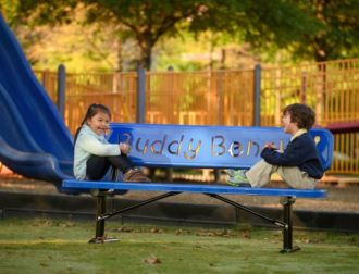 Buddy Bench - 8 Foot Heavy Duty Duty Buddy Bench With Thermoplastic Coated Seat and Back and 3 Mounting Options