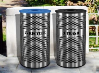 33-Gallon Perforated Stainless Steel Recycle and Trash Combo