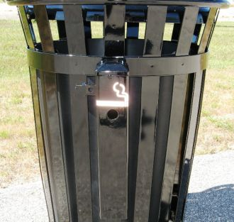 Side mounted cigarette receptacle for Trash Receptacle