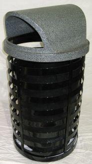 36-Gallon Spiral Trash Receptacle, Open Dome Top