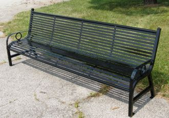 8 Foot Steel Park Bench with Horizontal Slats